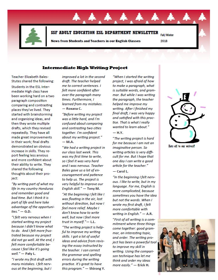 ESL newsletter