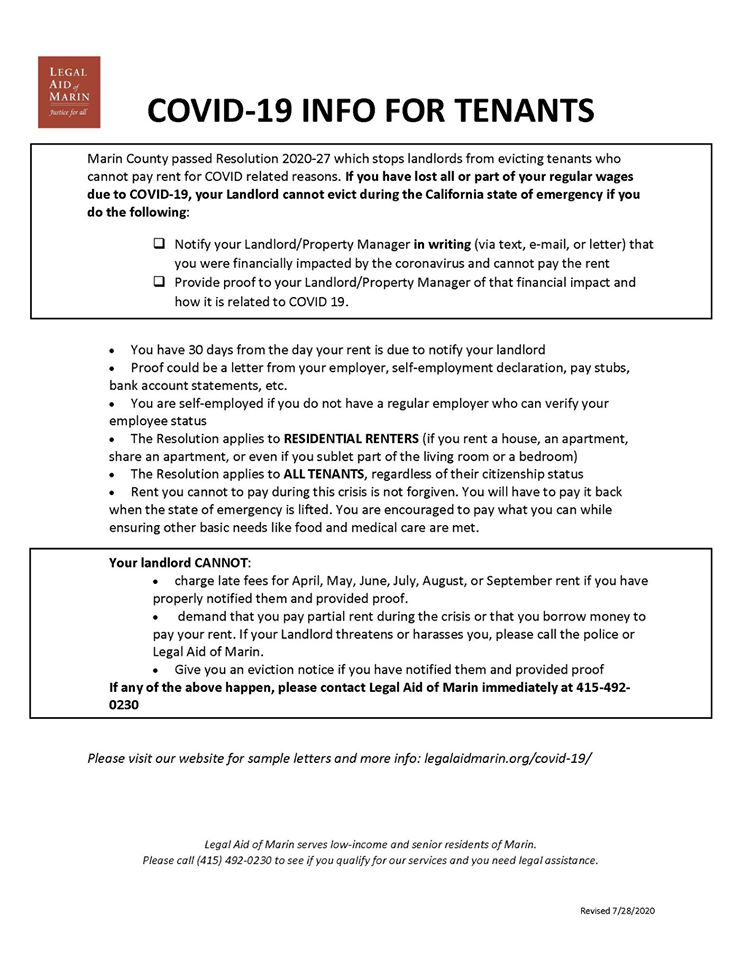 Info for tenants Covid
