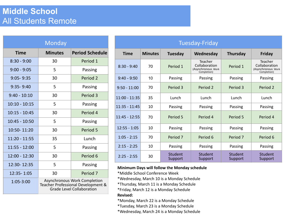 middle sched