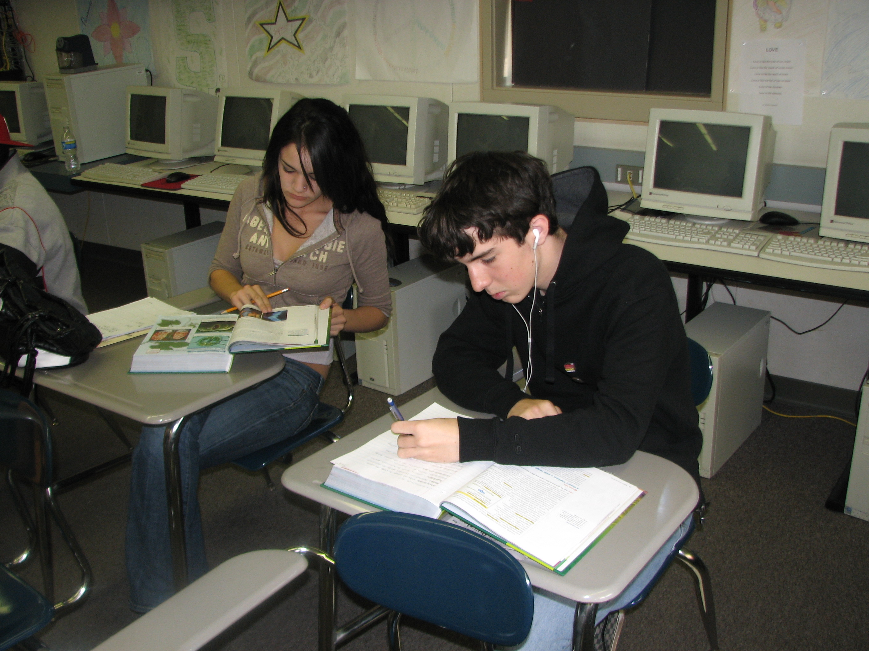 Alternative Education Students working at their desks in a classroom
