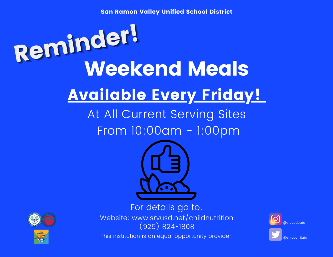 Weekend Meals Starting October 9th