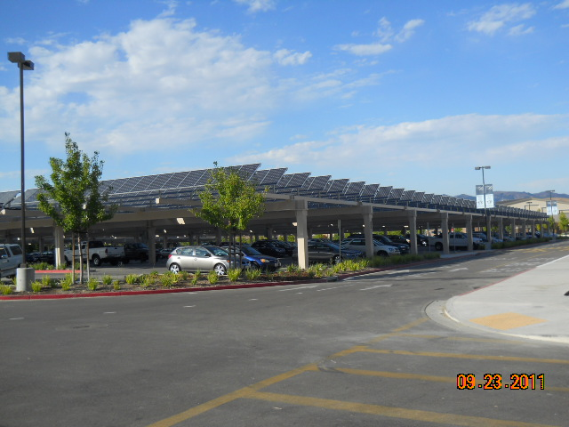Solar panel installation over a parking lot