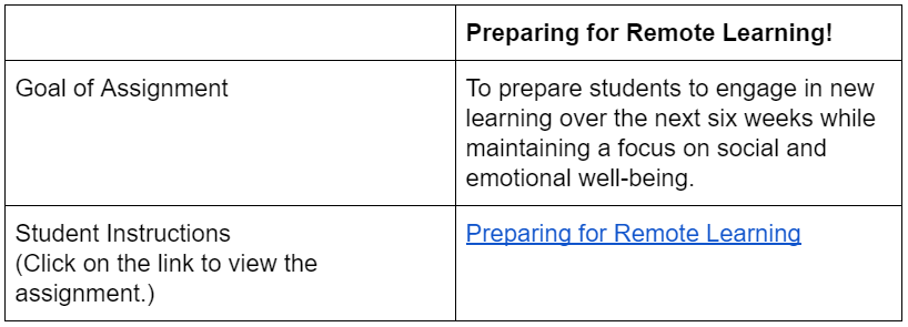 preparing for remote learning assignment