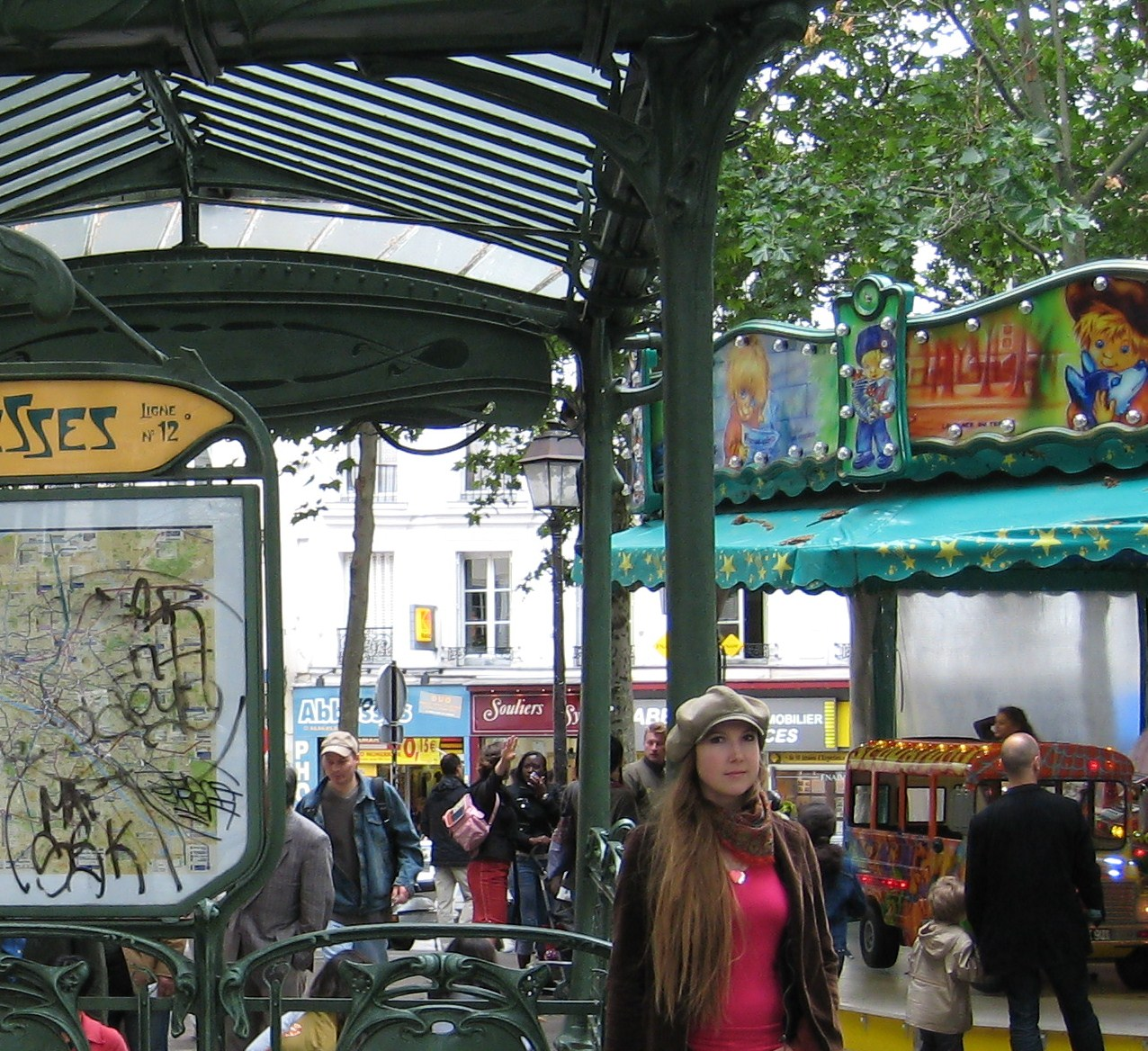 Me, at the Abbesses metro station in Montmartre, Paris