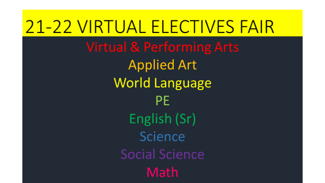 Virtual Electives Fair in colored print