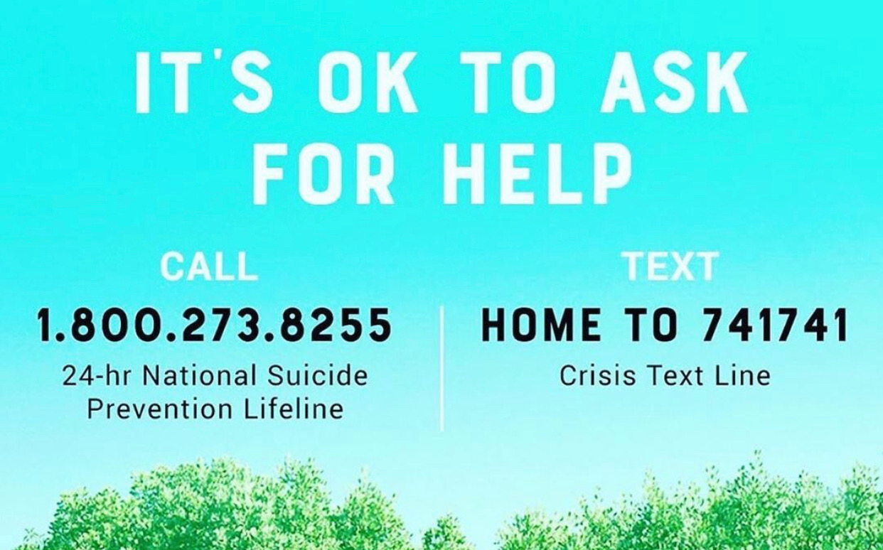 CALL 1.800.273.8255 for the 24 hr National Suicide Prevention hotline or TEXT  HOME to 741741