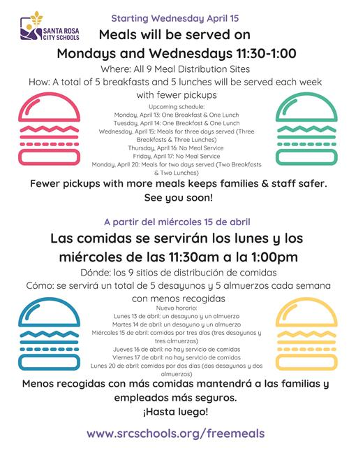 Meals served Monday and Wednesdays