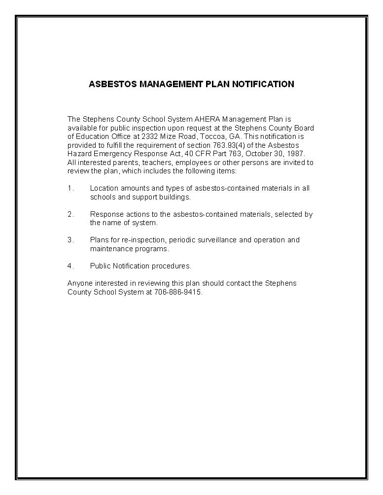 Asbestos Management Plan Notification