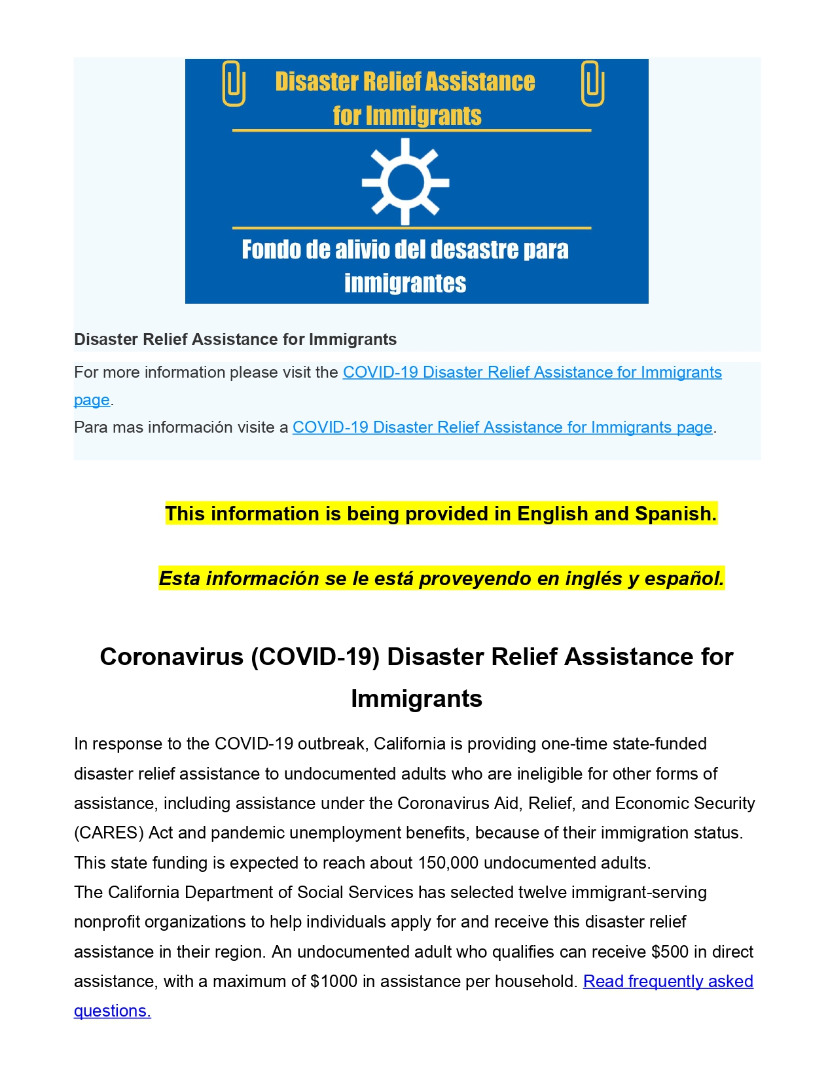 Disaster Relief for Immigrants