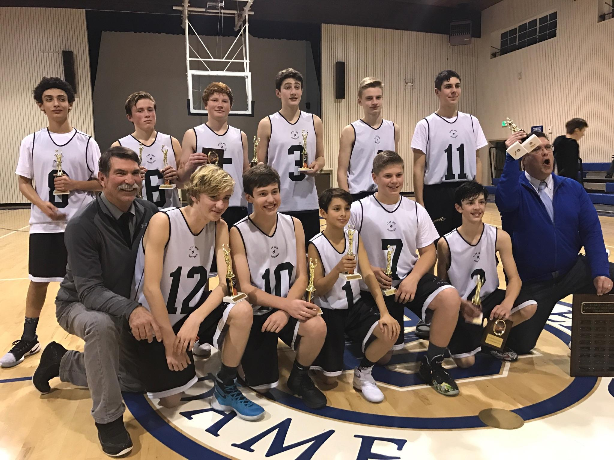8th Grade Boys win the Ed Kelly tournament 2017