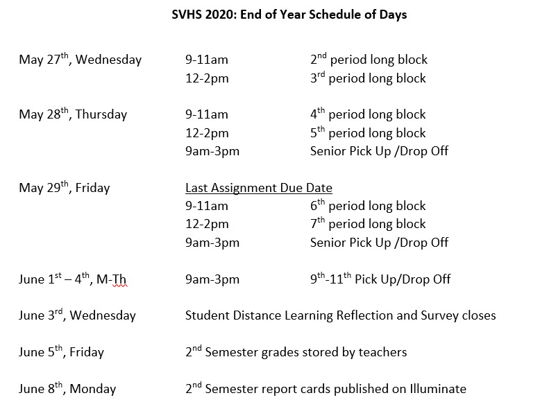 end of the year schedule